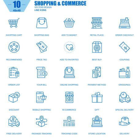 Thin line online shopping and e-commerce icons set for website and mobile site and apps. Contains such Icons as Basket, Delivery, Price Tag. Editable Stroke. Vector illustration.
