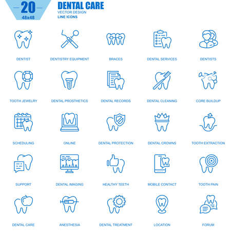 Thin line dental care, dentistry equipment, hygiene icons set for website and mobile site and apps. Contains such Icons as Dentist, Braces. Editable Stroke. Vector illustration.