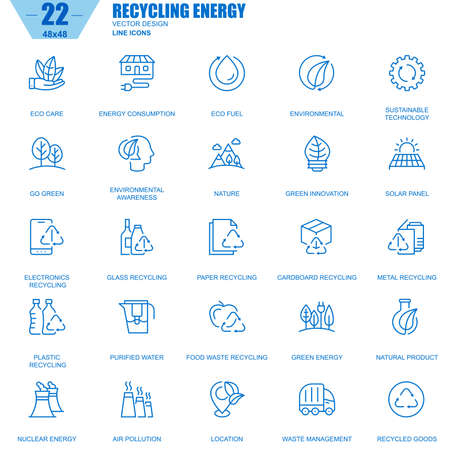 Thin line recycling, environmental protection, eco care icons set for website and mobile site apps. Contains such Icons as Eco, Innovation. 48x48 Pixel Perfect. Editable Stroke. Vector illustration.