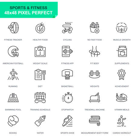 Simple Set Sport and Fitness Line Icons for Website and Mobile Apps.