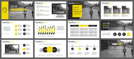 Prezentacje biznesowe przedstawiają szablony z elementów infografiki. Może być używany do prezentacji, ulotek i ulotek, broszur, raportów korporacyjnych, marketingu, reklamy, raportów rocznych, banerów, broszur. Ilustracje wektorowe