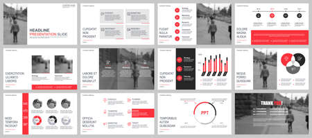 Business presentation slides templates from infographic elements. Can be used for presentation, flyer and leaflet, brochure, corporate report, marketing, advertising, annual report, banner, booklet. 版權商用圖片 - 99087607