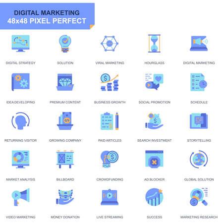 Conjunto simple de iconos planos de negocios y marketing para sitios web y aplicaciones móviles. Contiene iconos como estrategia digital, solución global, mercado. 48x48 Pixel Perfect. Trazo editable. Ilustración vectorial