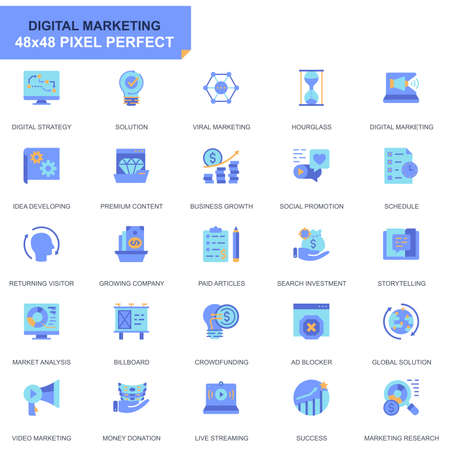 Simple Set Business and Marketing Flat Icons for Website and Mobile Apps. Contains such Icons as Digital Strategy, Global Solution, Market. 48x48 Pixel Perfect. Editable Stroke. Vector illustration.