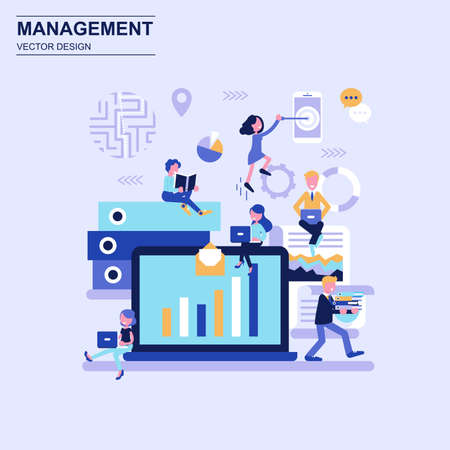 Management flat design concept blue style with decorated small people character. Conceptual vector illustration for web design, marketing, graphic design.