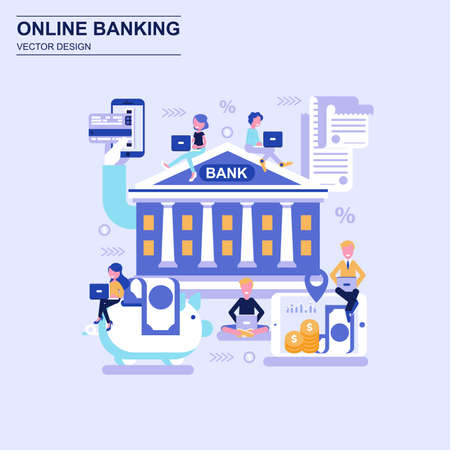Online banking flat design concept blue style with decorated small people character. Conceptual vector illustration for web design, marketing, graphic design.