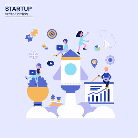 Startup flat design concept blue style with decorated small people character. Ilustração Vetorial