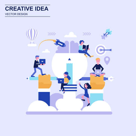 Creative idea flat design concept blue style with decorated small people character. Illustration