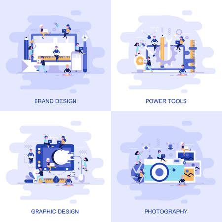 写真、グラフィックデザイン、パワーツール、ブランドデザインのモダンフラットコンセプトウェブバナーで、装飾された小さな人々のキャラクターが付いています。ウェブデザイン、グラフィックデザイン、マーケティングのための概念ベクトルイラスト。 写真素材 - 100788253