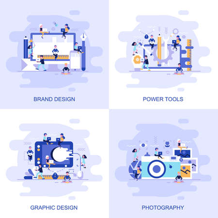 Modern flat concept web banner of Photography, Graphic Design, Power Tools and Brand Design with decorated small people character. Conceptual vector illustration for web and graphic design, marketing. Иллюстрация