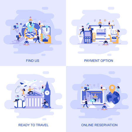Modern flat concept web banner of Find us, Online Reservation, Payment Option and Ready to Travel with decorated small people character. Conceptual vector illustration for web and graphic design.