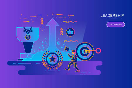 Modern gradient flat line concept web banner of leadership and businessman with decorated small people character. Landing page template. Conceptual vector illustration for web and graphic design.