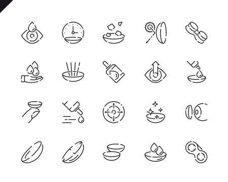 Simple Set Eye Lens Line Icons for Website and Mobile Apps. Contains such Icons as Lenses, Protection Container, Eyedropper, Medicine. 48x48 Pixel Perfect. Vector illustration.  イラスト・ベクター素材