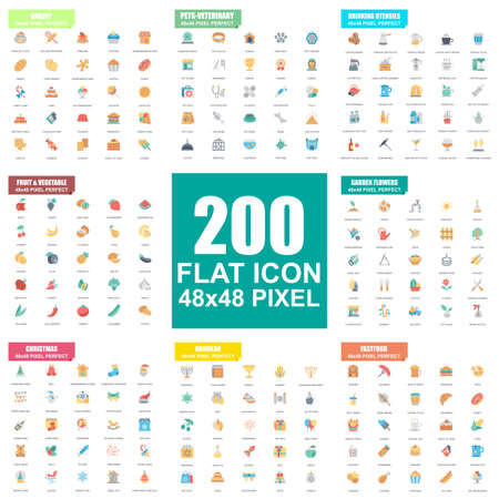 Simple set of vector flat icons. Contains such Icons as Bakery, Pets, Veterinary, Drinking, Fruit and Vegetable, Garden Flowers, Fastfood, Hanukah. Flat pictogram pack. 48x48 Pixel Perfect.