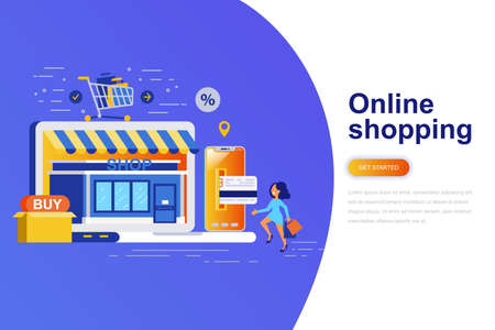 Online shopping modern flat concept web banner with decorated small people character. Landing page template. Conceptual vector illustration for web and graphic design, marketing.