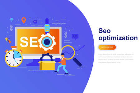 Seo optimization modern flat concept web banner with decorated small people character. Landing page template. Conceptual vector illustration for web and graphic design, marketing. 矢量图像