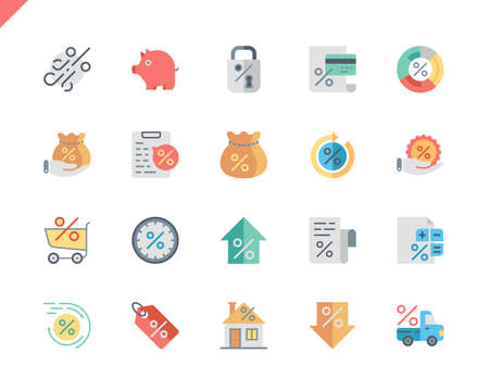 Simple Set Loan Flat Icons for Website and Mobile Apps. Contains such Icons as Investment, Finance, Document, Credit, Shopping. 48x48 Pixel Perfect. Vector illustration. Illustration