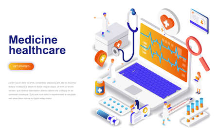 Medicine and healthcare modern flat design isometric concept. Pharmacy and people concept. Landing page template. Conceptual isometric vector illustration for web and graphic design. Vectores