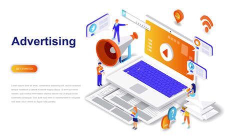 Advertising and promo modern flat design isometric concept. Advertisement and people concept. Landing page template. Conceptual isometric vector illustration for web and graphic design. Illustration