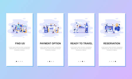 Onboarding screens user interface kit for mobile app templates concept. Modern user interface UX, UI screen template for mobile smart phone or responsive web site. Vector illustration flat design.