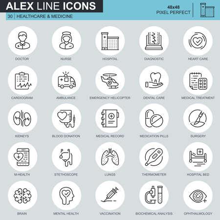 Icone di assistenza sanitaria e medicina di linea sottile impostate per sito Web e sito mobile e app. Contiene icone come medico, ospedale, attrezzature mediche. Pixel 48x48 perfetto. Tratto modificabile. Illustrazione vettoriale.