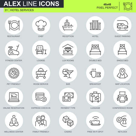 Thin line hotel services icons set for website and mobile site and apps. Contains such Icons as Restaurant, Room Services, Reception. 48x48 Pixel Perfect. Editable Stroke. Vector illustration.