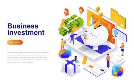 Business investment modern flat design isometric concept. Money and people concept. Landing page template. Conceptual isometric vector illustration for web and graphic design. 일러스트