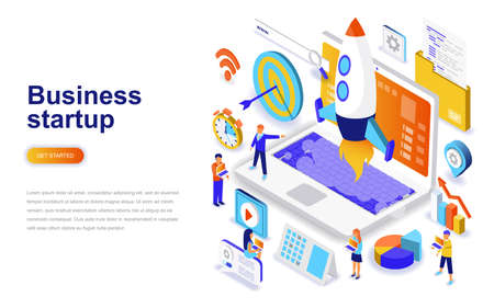 Business startup modern flat design isometric concept. Launch work and people concept. Landing page template. Conceptual isometric vector illustration for web and graphic design. Stock Illustratie