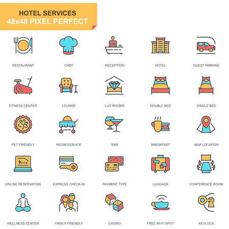 Flat line hotel services icons set for website and mobile site and apps. Contains such Icons as Restaurant, Room Services, Reception. 48x48 Pixel Perfect. Pictogram pack. Vector illustration.