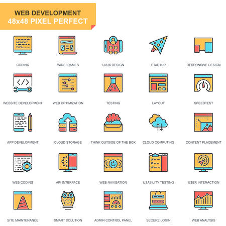 Flat line web design and development icons set for website and mobile site and apps. Contains such Icons as Coding, App Development. 48x48 Pixel Perfect. Pictogram pack. Vector illustration.