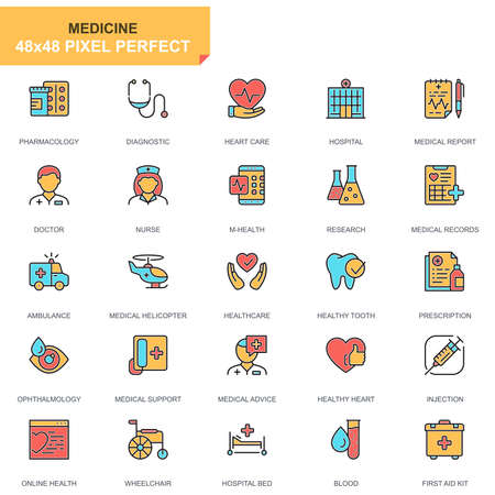 Flat line healthcare and medical icons set for website and mobile site and apps. Contains such Icons as Ambulance, Research, Hospital. 48x48 Pixel Perfect. Pictogram pack. Vector illustration.