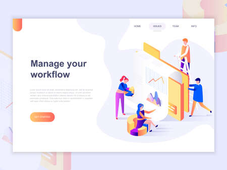 Landing page template of business and workflow management. 3D isometric concept of web page design for website and mobile website. Vector illustration.