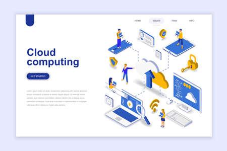 Concepto isométrico moderno diseño plano de computación en la nube. Concepto de tecnología y personas de negocios. Plantilla de página de destino. Ilustración vectorial isométrica conceptual para diseño web y gráfico.