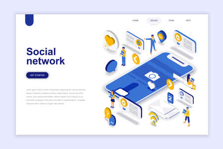 Social network modern flat design isometric concept. Communication and people concept. Landing page template. Conceptual isometric vector illustration for web and graphic design. Vetores