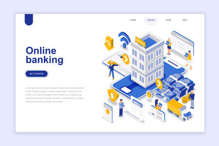 Online banking modern flat design isometric concept. Electronic bank and people concept. Landing page template. Conceptual isometric vector illustration for web and graphic design. Vettoriali