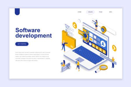 Softwareentwicklung modernes flaches Design isometrisches Konzept. Entwickler- und Personenkonzept. Landingpage-Vorlage. Konzeptionelle isometrische Vektorillustration für Web- und Grafikdesign. Vektorgrafik