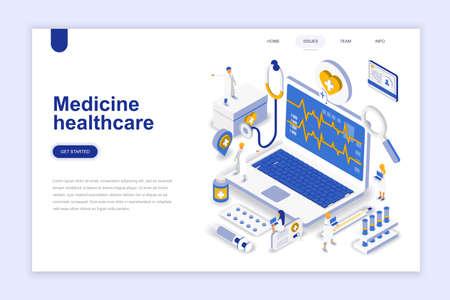 Concepto isométrico moderno del diseño plano de la medicina y de la salud. Concepto de farmacia y personas. Plantilla de página de destino. Ilustración vectorial isométrica conceptual para diseño web y gráfico.