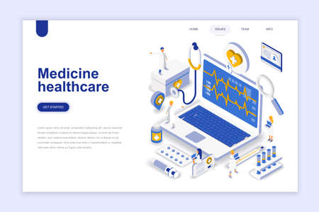 Medicine and healthcare modern flat design isometric concept. Pharmacy and people concept. Landing page template. Conceptual isometric vector illustration for web and graphic design. 矢量图像