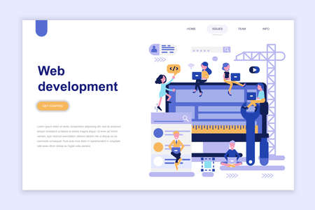 Landing page template of web development modern flat design concept. Learning and people concept. Conceptual flat vector illustration for web page, website and mobile website. Vektorgrafik