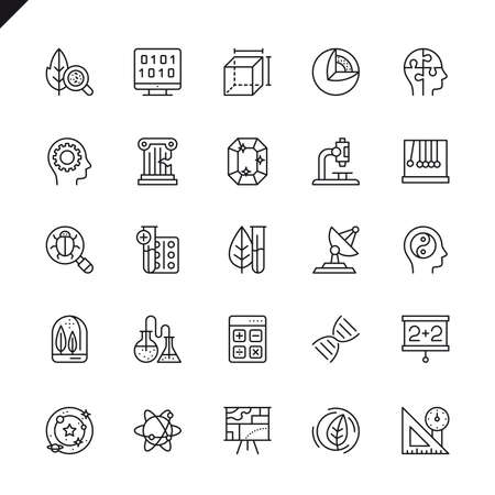 Thin line science, scientific activityelements icons set for website and mobile site and apps. Outline icons design. 48x48 Pixel Perfect. Linear pictogram pack. Vector illustration.