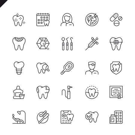 Thin line dental icons set for website and mobile site and apps. Outline icons design. 48x48 Pixel Perfect. Linear pictogram pack. Vector illustration. Stock Illustratie