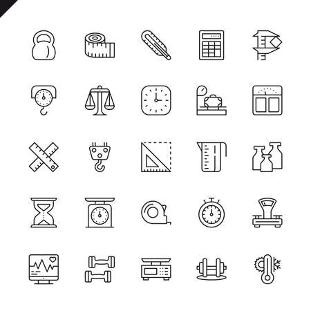 Thin line measuring, measure elements icons set for website and mobile site and apps. Outline icons design. 48x48 Pixel Perfect. Linear pictogram pack. Vector illustration. Ilustração