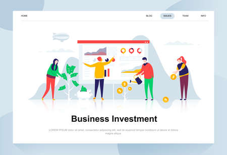 Business investment modern flat design concept. Money and people concept. Landing page template. Conceptual flat vector illustration for web page, website and mobile website.