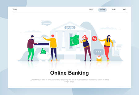 Online banking modern flat design concept. Electronic bank and people concept. Landing page template. Conceptual flat vector illustration for web page, website and mobile website.