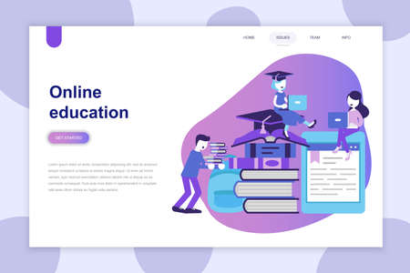 Modern flat design concept of Online Education for website and mobile website. Landing page template. Can use for web banner, infographics, hero images. Vector illustration.