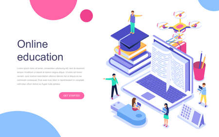 Modern flat design isometric concept of Online Education for banner and website. Landing page template. Graduation, e-learning research, college research, back to school concept. Vector illustration. 向量圖像