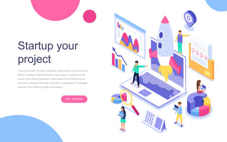 Modernes isometrisches Konzept des flachen Entwurfs von Startup Your Project für Banner und Website. Landingpage-Vorlage. Plan für Neugründung, Einkommens- und Erfolgskonzept. Vektorillustration.