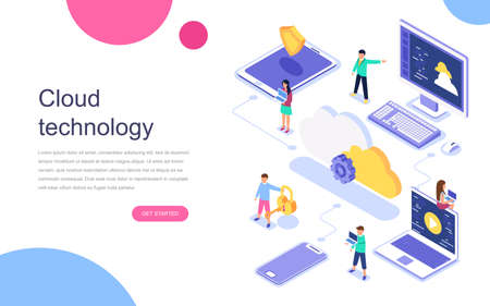 Modern flat design isometric concept of Cloud Technology for banner and website. Landing page template. Data center, software solutions to share informations on digital network. Vector illustration. Illustration