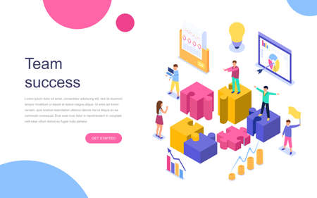 Modern flat design isometric concept of Team Success for banner and website. Landing page template. Successful business people working together. Vector illustration. 免版税图像 - 106851396
