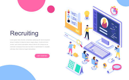 Modern flat design isometric concept of Recruiting for banner and website. Landing page template. Employer, businessman resources, hr job presentation for occupation choose. Vector illustration.